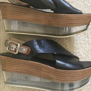 AGL (Italy) leather / Clear platforms